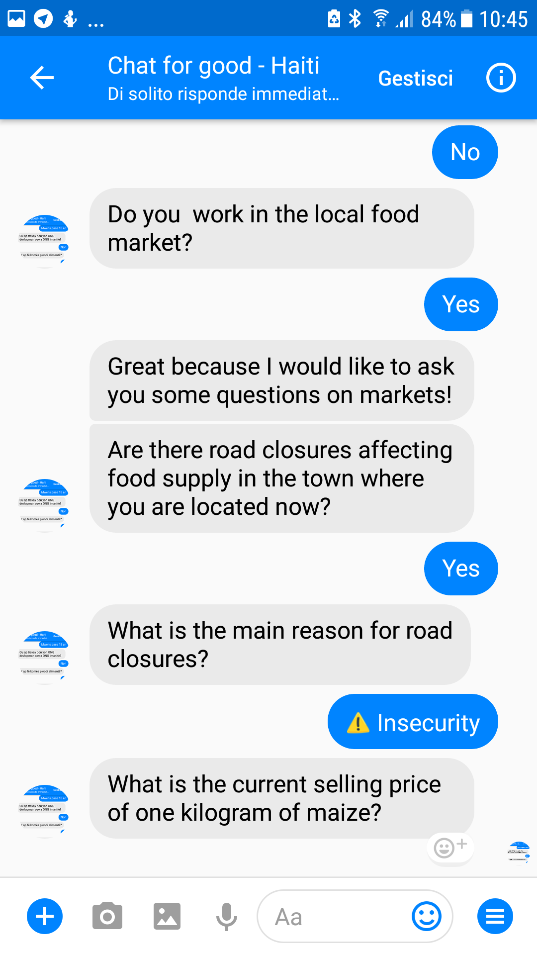 Our experiment using Facebook chatbots to improve